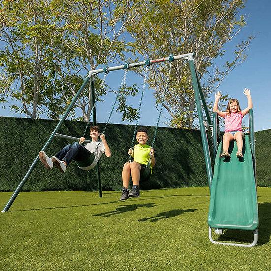 Castle Peak 10' Metal Swing Set with 8' Slide