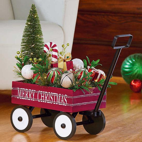 Holiday Wagon Arrangement with LED Lights, Christmas