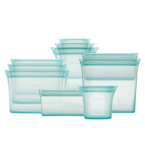 Zip Top 10-piece Reusable Platinum Silicone Food Containers