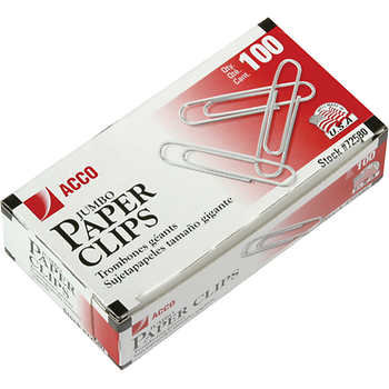 Acco Smooth Paper Clips, Jumbo, 10 packs of 100