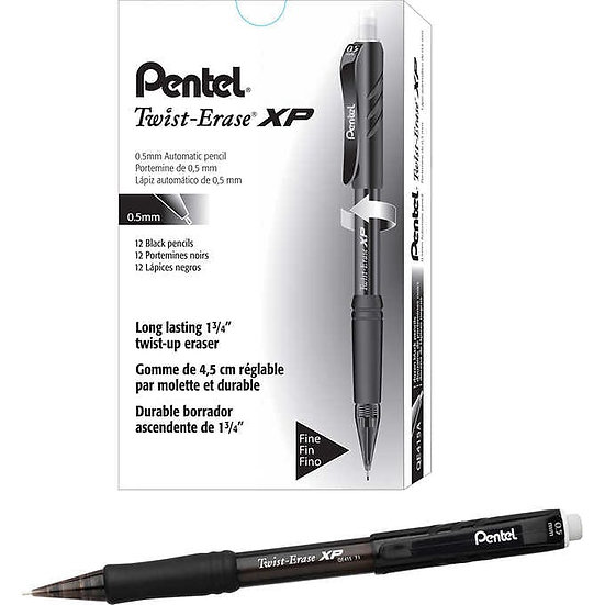 Pentel Twist-Erase Express Mechanical Pencil 0.5mm Black, 12-count