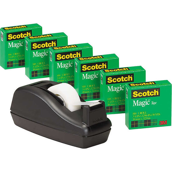Scotch C40 Tape Dispenser with 6 Rolls of Magic Tape