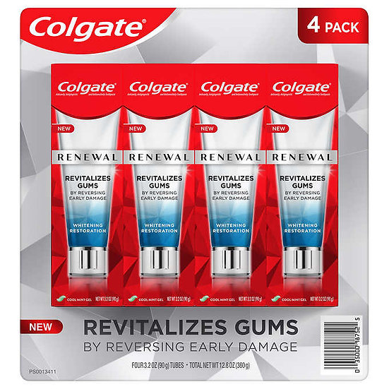 Colgate Renewal Gum Toothpaste, Whitening Restoration, 3.2 oz, 4-pack