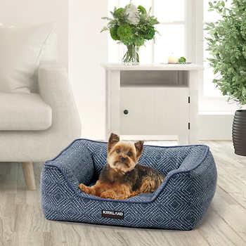 "Kirkland Signature 21""X25"" Rectangular Cuddler Dog Bed, Blue"