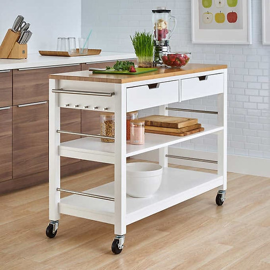 """TRINITY 48"""" Bamboo Kitchen Cart with Drawers, White"""