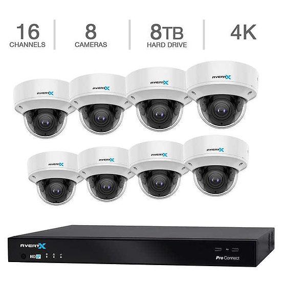 AvertX 16-Channel 4K NVR Smart System System w/8TB HDD & 8 4K Dome Cameras