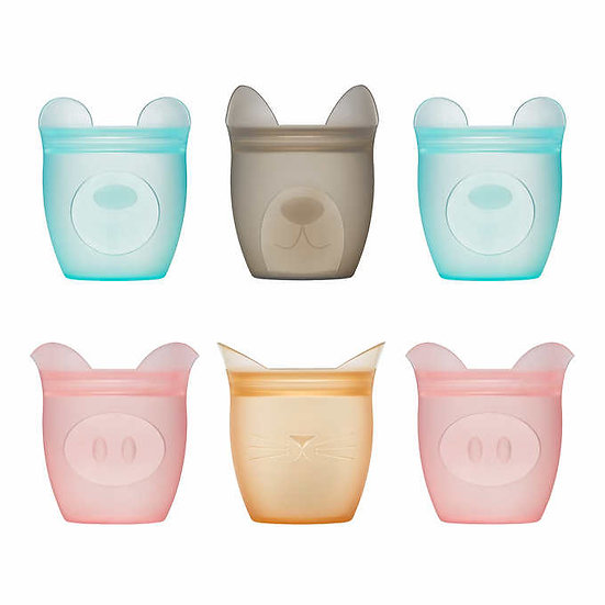 Zip Top 6-piece Reusable Platinum Silicone Baby Snack Containers