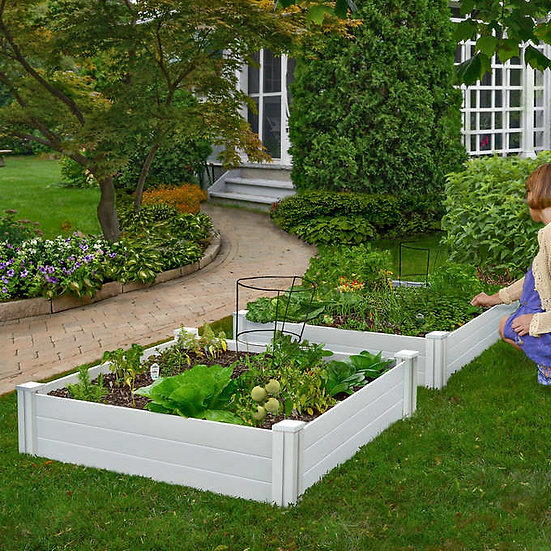 White Vinyl Raised Garden Bed, 2-pack, Model  VT17114