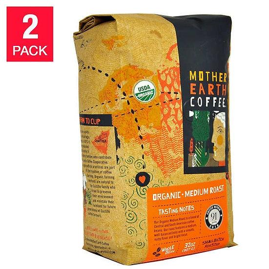Mother Earth Organic Medium Roast Coffee 2 lb, 2-pack