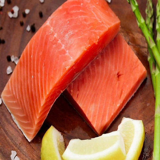 Northwest Red King Salmon Portions, 7-9 oz, minimum 12-count, 6 lbs total