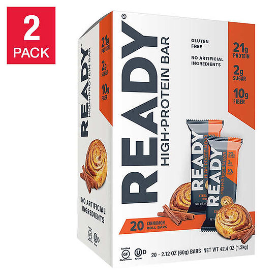 Ready Nutrition Protein Bars, Cinnamon Roll, 20-count, 2-pack