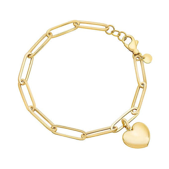 14kt Yellow Gold Paperclip Bracelet with Heart Charm