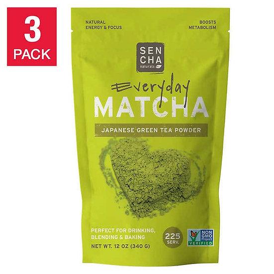 Sencha Naturals Everyday Matcha Green Tea Powder, 3-pack