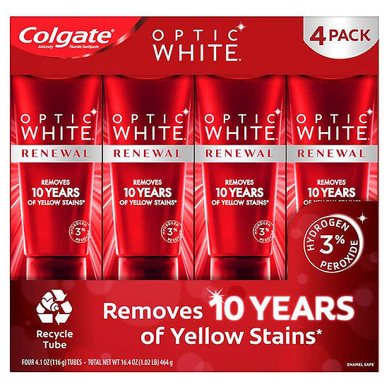 Colgate Optic White Renewal Toothpaste 4.1 oz, 4-pack