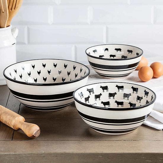 Baum Farmhouse Bowls, Set of 3