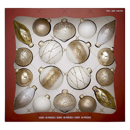 Hand Decorated Glass Ornaments - Gold/White, 18-piece, Christmas