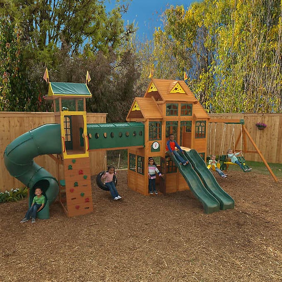 Cedar Summit by KidKraft Bear Cave Lodge Swing Set & Playset, Model  F24872