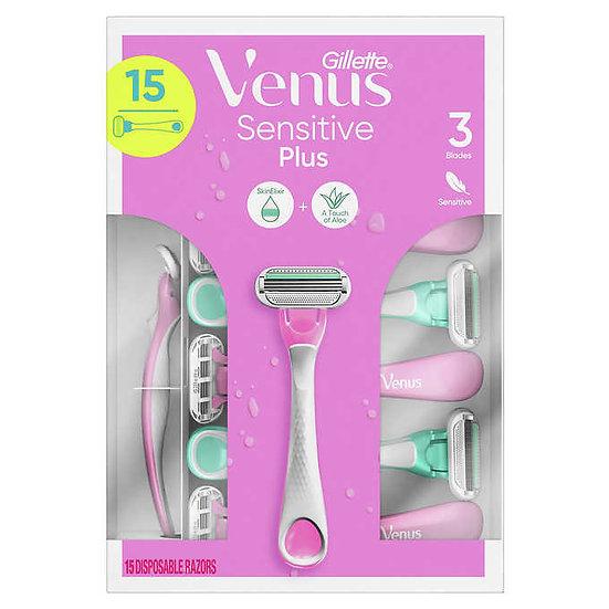 Gillette Venus Sensitive Plus Disposable Razor, 15-count