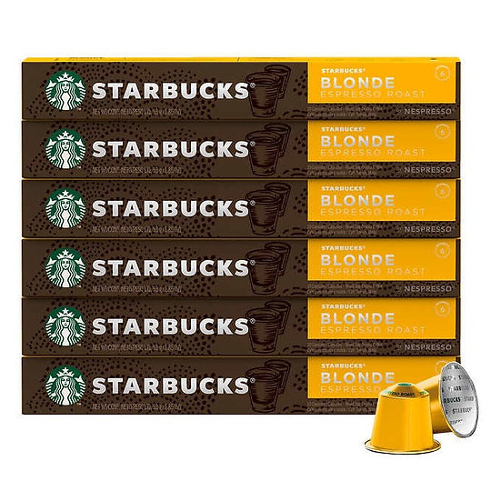 Starbucks by Nespresso Blonde Espresso Roast Capsules, 60 Count