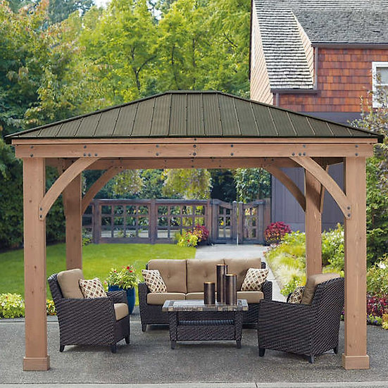 12' x 14' Cedar Gazebo With Aluminum Roof by Yardistry