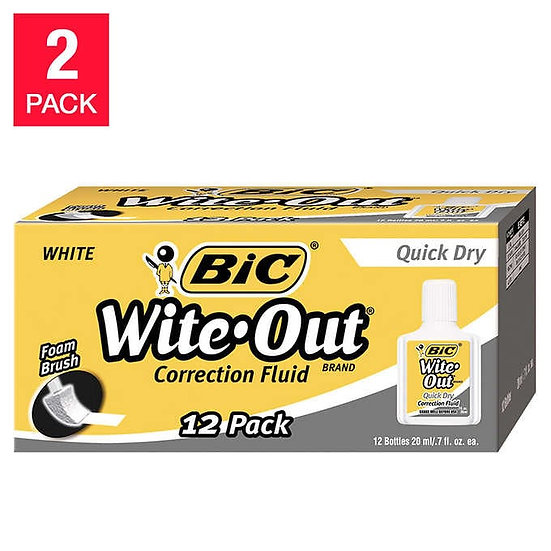 Bic Wite-Out Quick Dry Correction Fluid, 24-count