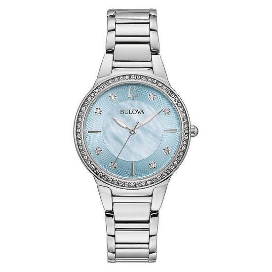 Bulova Stainless Steel Swarovski Crystal Ladies Quartz Watch