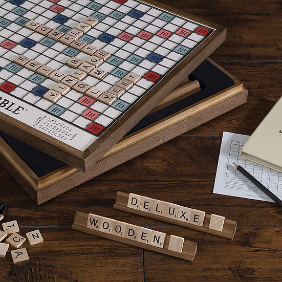 Scrabble Deluxe Vintage Wood Game Set with Lazy Susan