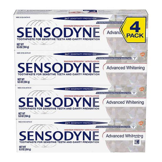 SENSODYNE Advanced Whitening Toothpaste, 6.5 oz, 4-pack