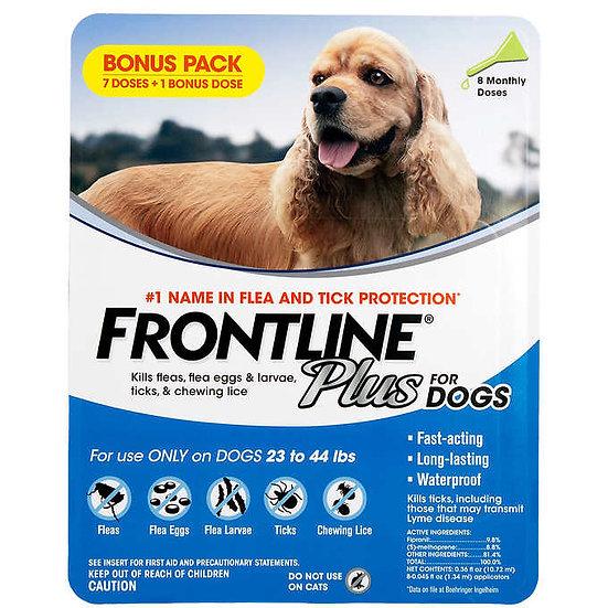 Frontline Plus Flea and Tick Dog Treatment 23-44 lb, 7+1 Doses