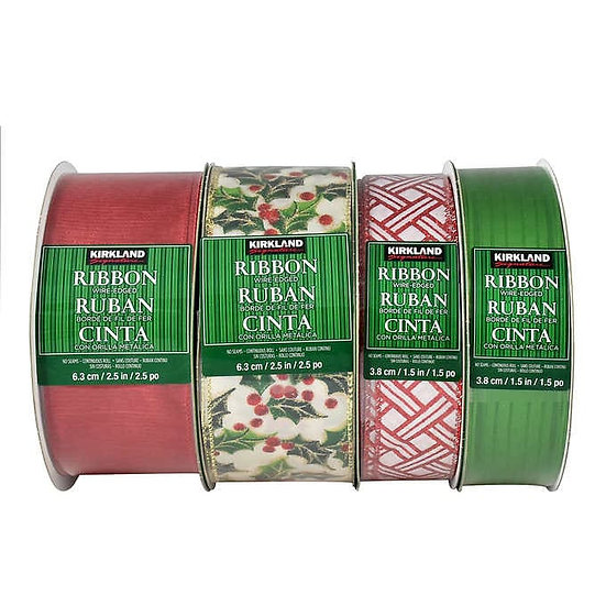 Kirkland Signature Wire Edged Ribbon - Traditional Assortment 4-pack, Christmas