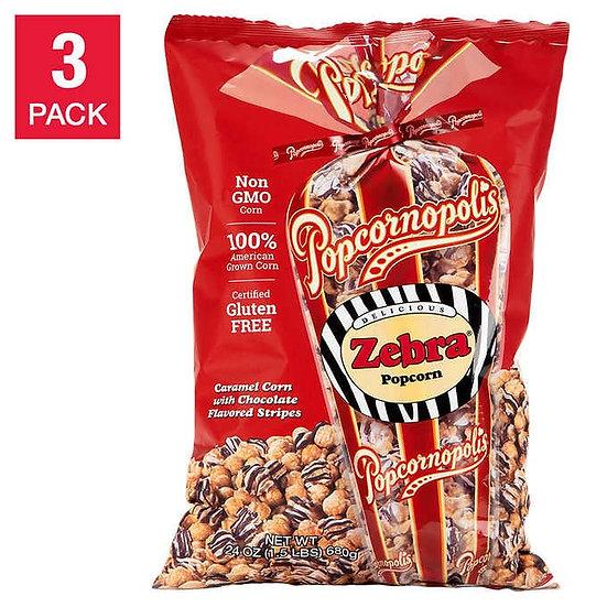Popcornopolis Zebra Popcorn 24 oz, 3-count