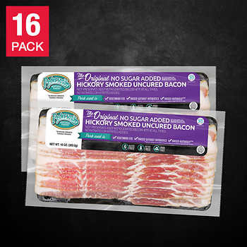 Pederson Natural Farms Antibiotic Free Uncured No Sugar Bacon, 10 oz, 16-pack