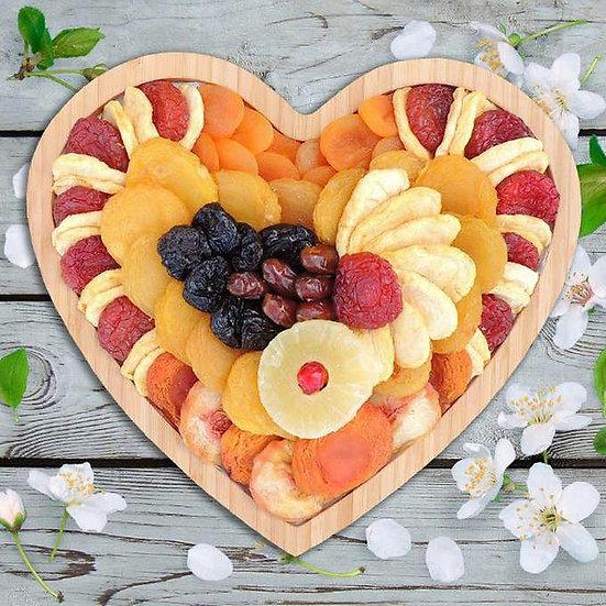 Vacaville Fruit Company, 33 oz Dried Fruit Bamboo Heart Tray