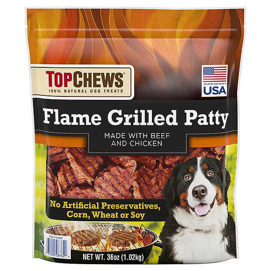 Top Chews Flame Grilled Patty Dog Treats, 36 oz