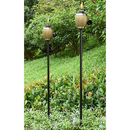 Brass Metal and Resin Patio Torches 2Pk