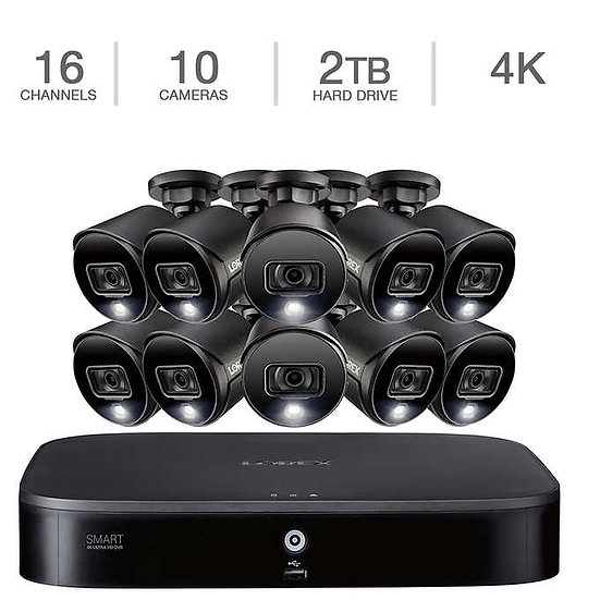 Lorex 4K Ultra HD DVR 16-Ch. Security System w/ 10 Active Deterrence 4K Cameras