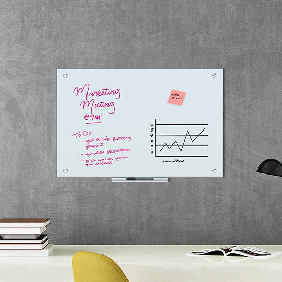 Glass Dry Erase Board, 36 x 24 Inches, White Frosted Surface, Frameless