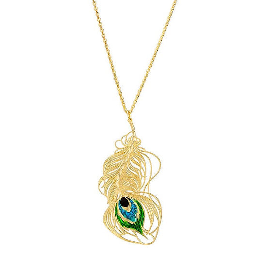 14kt Yellow Gold Peacock Feather Necklace