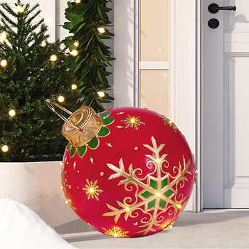 Oversized Ornament with LED Lights, Snowflake Pattern