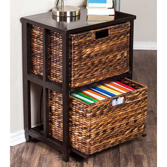 BirdRock Home 2 Tier File Cubby Cabinet