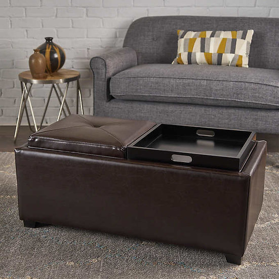 Marcus 2-tray Top Bonded Leather Storage Bench