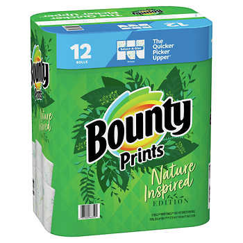 Bounty Prints Select-A-Size Paper Towels, 2-Ply, 128 Sheets, 12-count