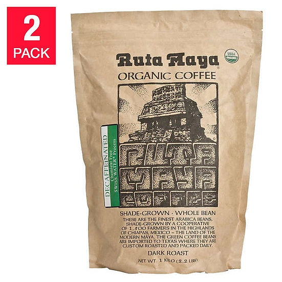 Ruta Maya Decaffeinated Coffee 2.2 lb, 2-pack