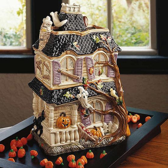 Fitz & Floyd Halloween Harvest Haunted House Cookie Jar