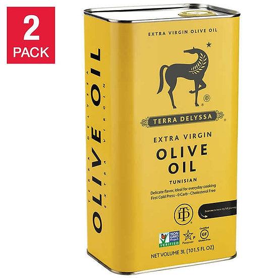 Terra Delyssa First Cold Press Extra Virgin Olive Oil 3L, Tin, 2-count