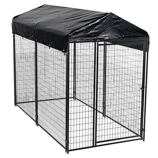 Lucky Dog Black Modular Welded Wire Kennel with Cover, 10' L x 5' W x 6'H