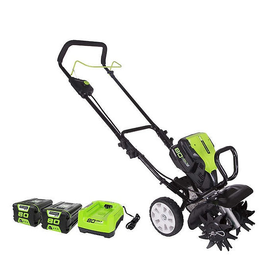 """Greenworks 80V 10"""" Cultivator with Two 2 AH Batteries + Charger"""