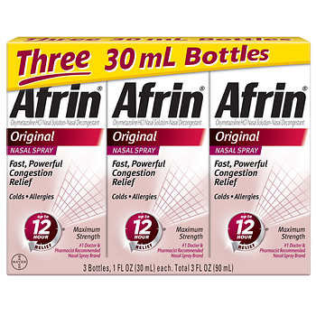 Afrin Original Maximum Strength 12 Hour Nasal Congestion Relief Spray, 90 mL.