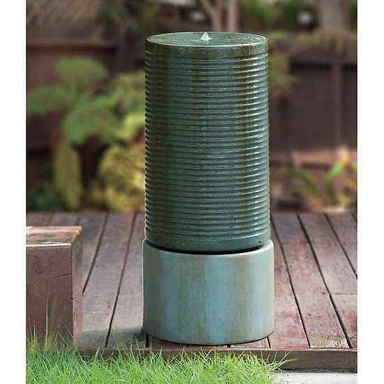 Modern Ribbed Self-contained Outdoor Fountain