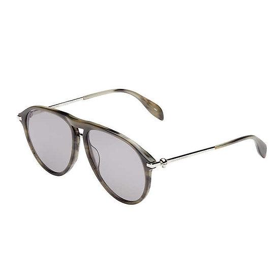 Alexander McQueen AM0134S Shiny Striped Gray Havana Sunglasses, Men's